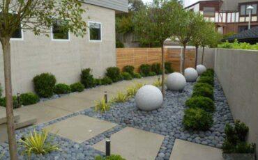 losa de hormigon en un jardin